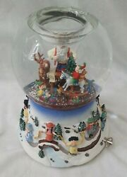 Partylite-- Santa At His Shop, 2004 Tealight Music And Motion Snow Globe Retired