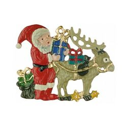 Santa With Reindeer German Pewter Christmas Ornament Decoration Made In Germany