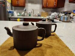 Pair Of Broken Yixing Teapots Late Qing Early Roc Metal Staples On Lid