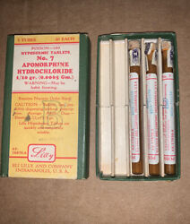 Apormorphine Hypodermic Tablets Container And Vials Vintage Eli Lilly Rare