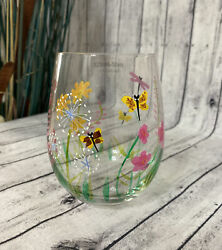Stemless Wine Glass Wildflowers Nad Butterflies Gorgeous Hand Painted - 18oz