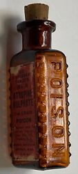 Parke Davis And Co. Amber/brown Glass Bottle Embossed Poison Pdandco W/ Label
