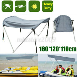 2 Bow Anti-uv Fit 45-63'' Width Canopy Boat Top Cover W/ Aluminum Poles Straps