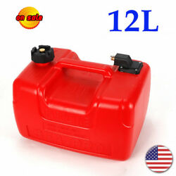 12l Portable Boat Fuel Tank Low Profile Red Outboard Motor Gas Tank Us