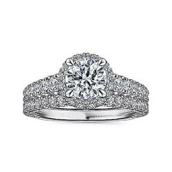 Round 1.60 Ct Real Diamond Engagement Ring Set Solid 18k White Gold Size 6 7 8 9