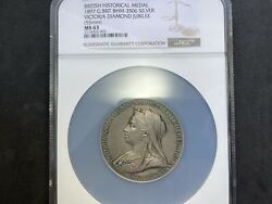 1897 Great Britain Victoria Diamond Jubilee Silver Medal Nicely Toned Ngc Ms63