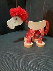 Vintage Calico Zoo Wooden Cloth Yarn Horse Marionette String Puppet Toy Rare