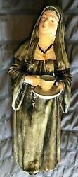Extremely Rare Antique 19th Century Majolica Nun Figurine Pottery Bell