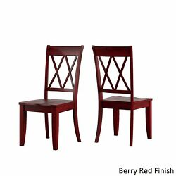 Eleanor Black Farmhouse Trestle Base 6-piece Dining Set - X Berry Red Chairs And