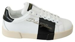 Dolce And Gabbana Shoes Sneakers White Leather Logo Print Mens Casual Eu39 / Us6
