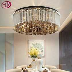 Modern Crystal Chandelier For Ceiling Luxury Round Smoky Gray Cristal Lamps Bedr