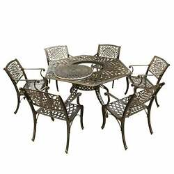 Lattice 63 Inch Hexagon Dining Set With Lazy Susan And Six Bronze 7-piece Sets