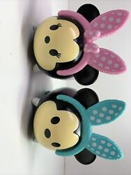 Disney Mickey And Minie Mouse Babys Piggy Banks Blue Pink Black Eyes Cute F27