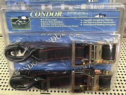 Condor Motorcycle Ratchet Tie-down Straps For Wheel Chock Or Trailer 1-1/2