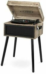 Bluetooth Record Player Stand With 3-speed Turntable Farmhouse Oatmeal