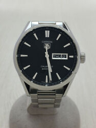 Tagheuer Automatic Watch Analog Stainless Steel Blk Slv Boxed War201a-1 Carrera