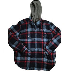 Craftsman Mens Sz Xl Hooded Insulated Flannel Jacket Blue Red