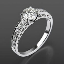 Solitaire Accented Diamond Ring Authentic 18 Karat White Gold 1.24 Carat Si2