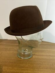 Vintage Lock And Co Hatters London 7 3/8 Brown Fur Felt Fedora Hat Hand Made