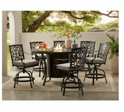 Agio Hastings 7-piece High Dining With Fire Pit And Sunbrella Fabric Free Ship