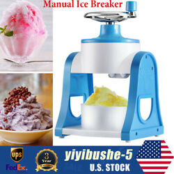 Manual Ice Cube Crusher Shaver Block Shaving Machine Stainless Steel Blades Blue