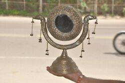 Old White Metal Round Engraved Handcrafted Vanity Decorative Mirror,collectible