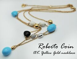 Roberto Coin 18k Yellow Gold Turquoise Onyx Agate And Diamond Necklace Rare 25g