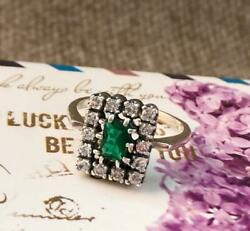 Vintage Soviet Womenand039s Jewelry Classic Model Sterling Silver 925 Emerald S 9