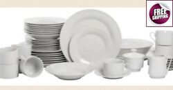 All Set Dinnerware 45 Pcs Dishes Plate Bowl Cup Vintage Classic Modern White New