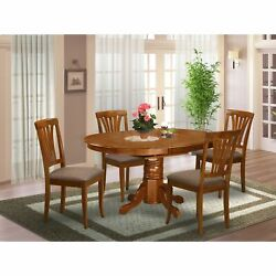 5-piece Set - Oval Table With Leaf And 4 Dining Chairs -