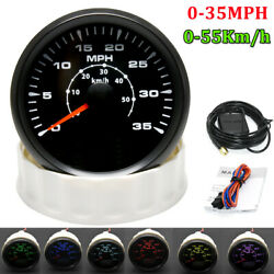 85mm Boat Gps Speedometer Gauge Odometer 0-35mph 55km/h With 8 Colors Backlight