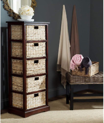 Safavieh American Homes Collection Vedette Distressed Black 5 Wicker Basket Stor