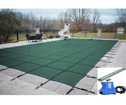 Gli Valuex Green Solid Swimming Pool Winter Safety Cover W/ Pump And Paving Tubes
