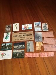 Old Vintage Paper Ephemera Lot Postcards Advertising Post Office, Cut Outs++