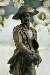 100 Real Bronze Sculpture Signed Original Pirate With Jewelry Chest Sword Art