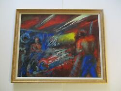 Antique Vintage Wpa Style Painting Industrial Factory Workers Expressionism Mod