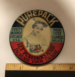 """Rare Advertising Mirror """"purepack Purity Packing Co.""""chicago Il,canned Meats"""