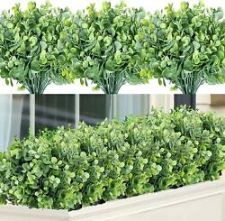 7 Bundles Artificial Greenery Stems Plants Large for Garden Home Grey Green New