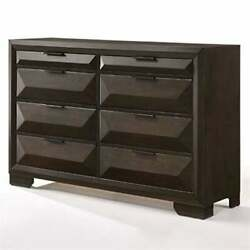 Eight Drawers Wooden Dresser With Beveled Drawer Fronts, Brown 8-drawer