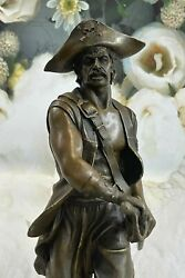 100 Real Bronze Sculpture Signed Original Pirate With Jewelry Chest Sword Sale