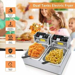 Commercial Deep Fryer With Dual Baskets 3600w 12l Capacity Tank Snack Home New