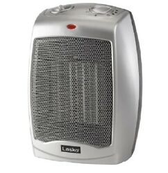 Ceramic Space Heater With Adjustable Thermostat 1500w, 754200, Silver