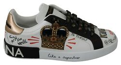 Dolce And Gabbana Shoes Sneakers White Leather Gold Crown Mens S. Eu41 / Us8