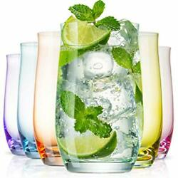 Beneti Exquisite Highball Colored Drinking Glasses Set Of 6 Colorful Water Gl...