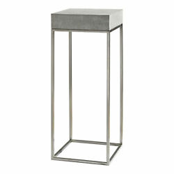 Uttermost 24806 Jude Plant 14w Stainless Steel End Table - Concrete