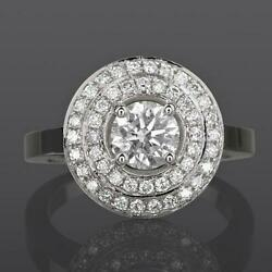 Solitaire And Accents Diamond Ring Halo Round 2 Carats Lady Si1 D 18k White Gold