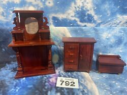 Wooden Dolls House Dollhouse Furniture - Chest Of Draws Desk Cabinet