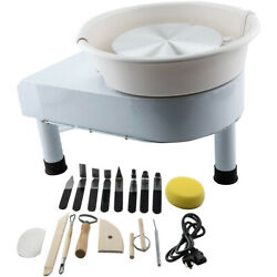 White 250w 25cm Electric Pottery Wheel + Shaping Tool Set Stainless Steel