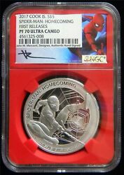 2017 Cook Islands 5 Spiderman 1oz. .999 Silver Ngc Pf70 Ultra Cameo Sp131