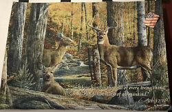 Manual Woodworkers And Weavers Wall Tapestry Deer In Woods-scripture 36x26 New